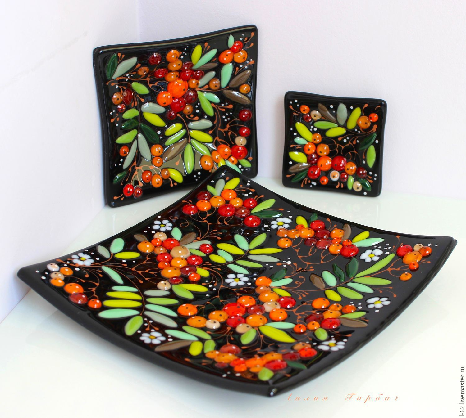 Plates handmade. Livemaster - handmade. Buy plates of glass, fusing Oh the hawthorn tree.Russian style, dishes