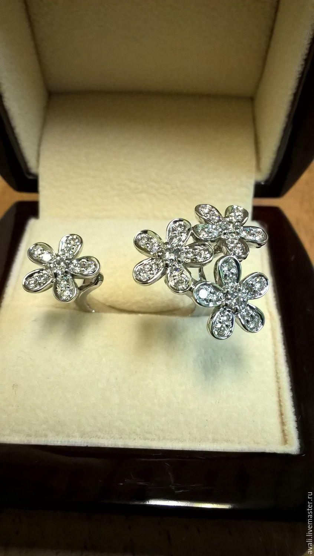 Кольцо с бриллиантами Цветы Van Cleef, Кольца, Москва, Фото №1