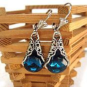 handmade. Livemaster - original item Earrings with dark turquoise Madeleine crystals. Handmade.