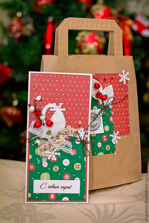 Открытки к Новому году ручной работы. Ярмарка Мастеров - ручная работа. Купить Новогодняя открытка в подарочном конверте 4. Handmade.