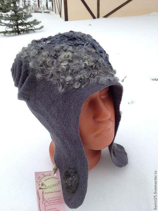 """Шапки ручной работы. Ярмарка Мастеров - ручная работа. Купить Шапка-шлем """"Серая шейка"""". Handmade. Серый, шапка с ушками"""