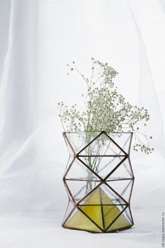 """Вазы ручной работы. Ярмарка Мастеров - ручная работа. Купить """"Мятая"""" ваза. Handmade. Желтый, сухоцвет, витражное стекло"""