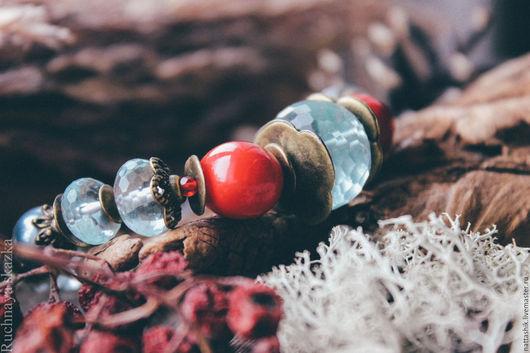 Браслеты ручной работы. Ярмарка Мастеров - ручная работа. Купить Багряный закат  -браслет. Handmade. Бордовый, ягодный, небесно-голубой