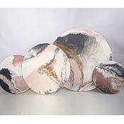"""Панно ручной работы. Ярмарка Мастеров - ручная работа """"Нежность розового"""" набор 4 панно эпоксидная смола. Handmade."""