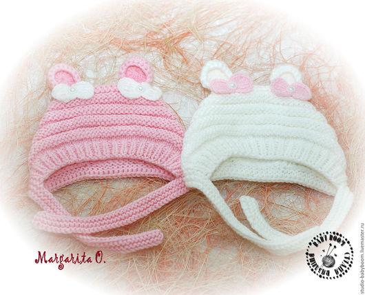 Для новорожденных, ручной работы. Ярмарка Мастеров - ручная работа. Купить Шапочка для новорожденного, шапочка с ушками, шапочка на выписку. Handmade.