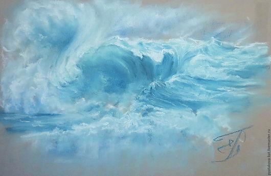 Пейзаж ручной работы. Ярмарка Мастеров - ручная работа. Купить Дыхание океана. Handmade. Голубой, картина пастель, пастельные тона