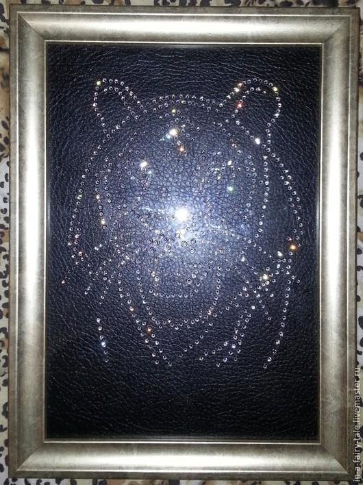 Животные ручной работы. Ярмарка Мастеров - ручная работа. Купить Картина с кристаллами Swarovski Тигр. Handmade. Swarovski crystal, swarovski