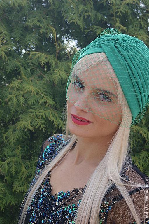 """Шляпы ручной работы. Ярмарка Мастеров - ручная работа. Купить Чалма с вуалью """"Зеленая"""". Handmade. Зеленый, пляжная шляпа"""
