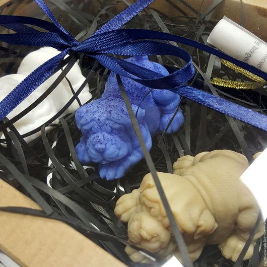 Мыло ручной работы. Ярмарка Мастеров - ручная работа. Купить Шарпей (набор мыла подарочный для мужчины). Handmade. Синий