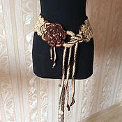 Аксессуары handmade. Livemaster - original item Knitted belt decorative jute.with the flower.. Handmade.