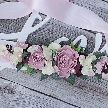 Свадебный салон ручной работы. Ярмарка Мастеров - ручная работа Пояс с цветами , пояс из цветов, пояс для невесты, пояс для платья. Handmade.