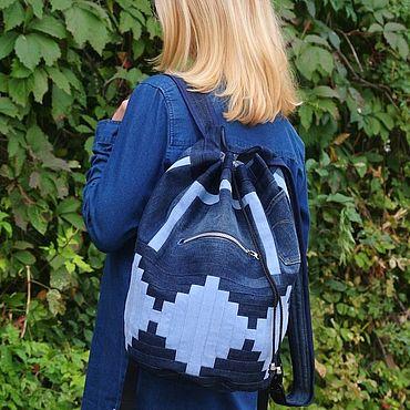 Bags and accessories handmade. Livemaster - original item Backpack denim InfinityIII. Handmade.