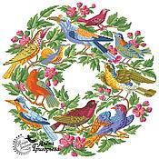 """Материалы для творчества ручной работы. Ярмарка Мастеров - ручная работа Схема вышивки """"Птичий венок"""". Handmade."""