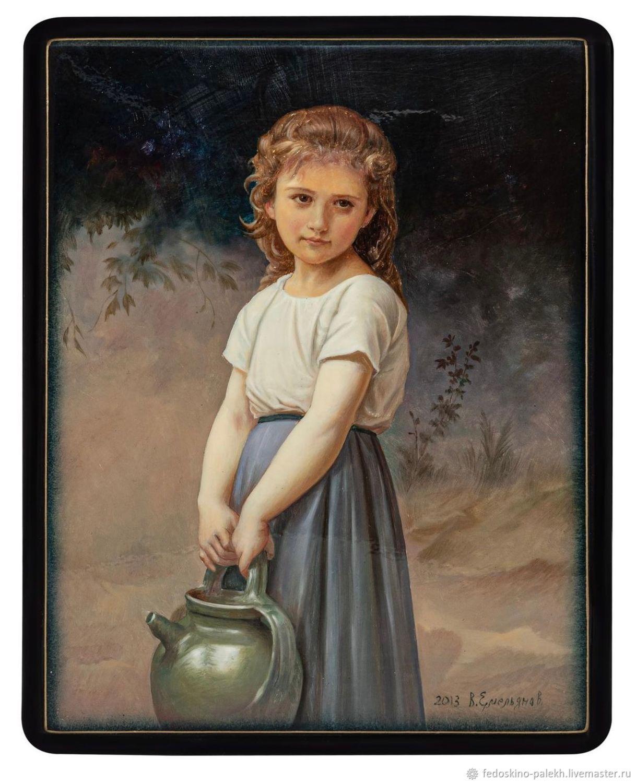 Шкатулка с лаковой миниатюрой «Девочка с кувшином», Шкатулки, Москва,  Фото №1