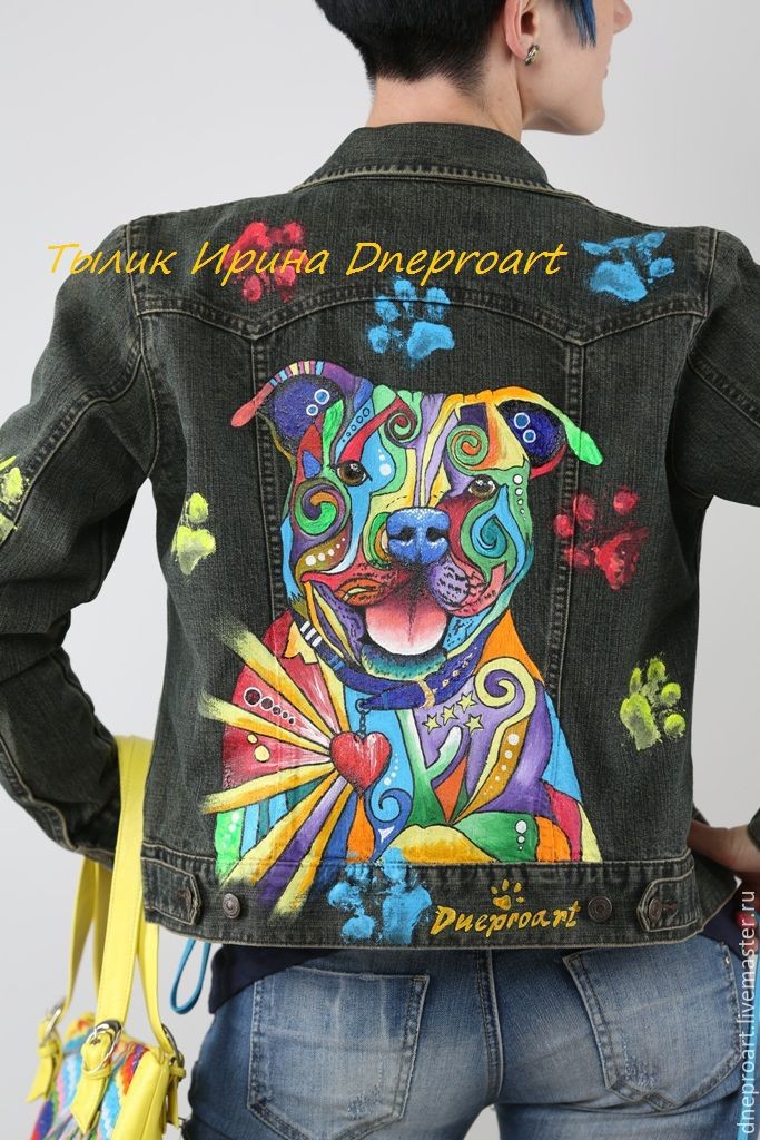 Denim Jacket In The Style Of Pop Art Quot Pit Bull Quot Hand