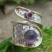 Украшения handmade. Livemaster - original item Victorian style Ring with Amethyst and Garnet, Silver 925!. Handmade.