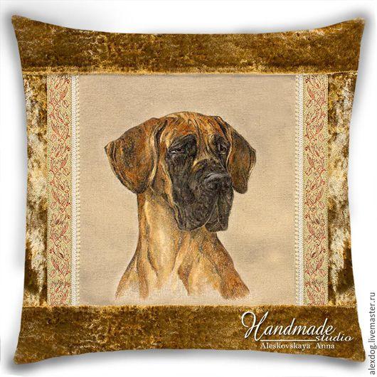 Портрет собаки по фото. Дог тигровый. Декоративная подушка.