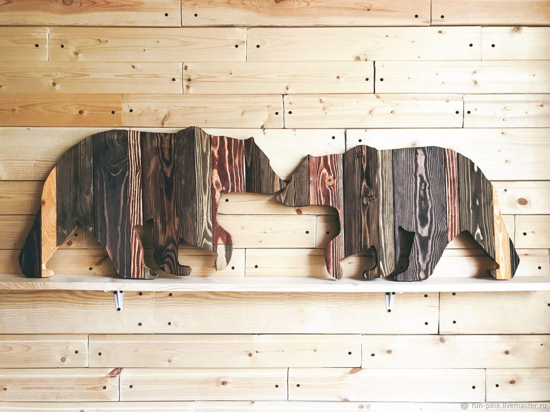 Медведи пара состаренные цветные доски, Картины, Москва,  Фото №1