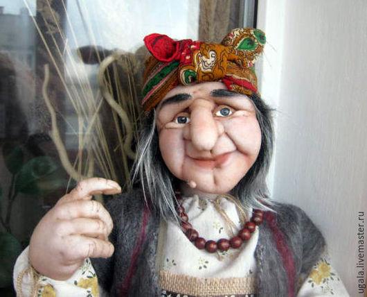 Коллекционные куклы ручной работы. Ярмарка Мастеров - ручная работа. Купить Кукла Баба Яга с летучей мышью. Handmade. Серый