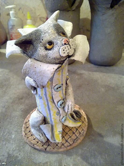Элементы интерьера ручной работы. Ярмарка Мастеров - ручная работа. Купить кот в пальто из обоев. Handmade. Керамика, кот в пальто