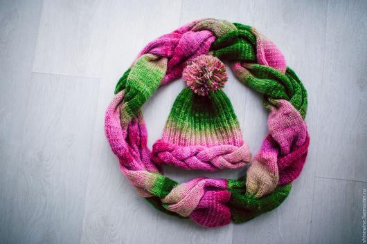 Шарфы и шарфики ручной работы. Ярмарка Мастеров - ручная работа. Купить яркий комплект из шерсти. Handmade. Зеленый, арбузный