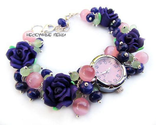 """Часы ручной работы. Ярмарка Мастеров - ручная работа. Купить Часы """"Фиолетовые розы"""". Handmade. Часы, фиолетовый, розовый, нефрит"""