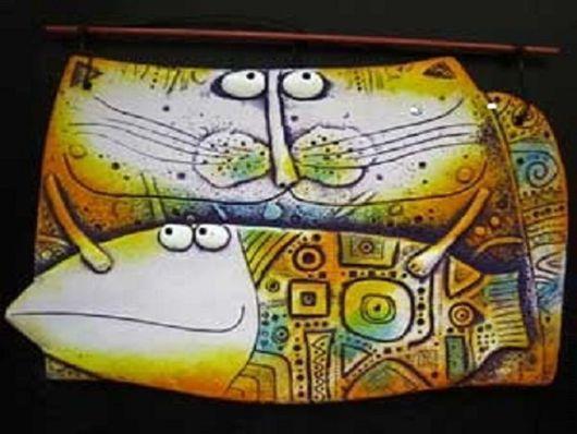 Животные ручной работы. Ярмарка Мастеров - ручная работа. Купить Кот с рыбой. Handmade. Авторская ручная работа, панно на стену