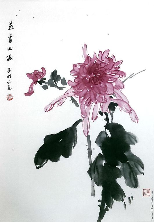 Картины цветов ручной работы. Ярмарка Мастеров - ручная работа. Купить хризантема. Handmade. Брусничный, хризантема, гохуа, китайская живопись