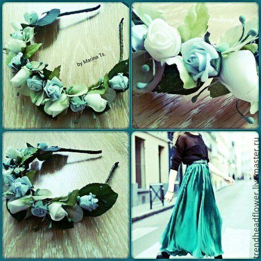 Диадемы, обручи ручной работы. Ярмарка Мастеров - ручная работа. Купить Ободок с голубыми и белыми розами. Handmade. Голубой