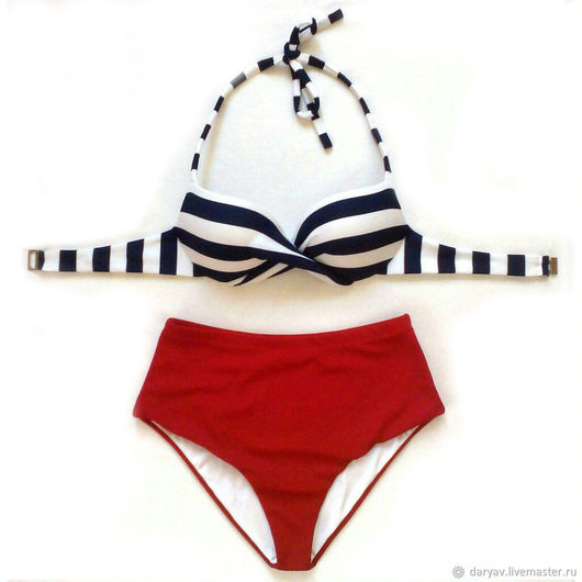 Two-piece bathing suit handmade. Livemaster - handmade. Buy Tankini swimsuit in a retro style on the cups push-up.
