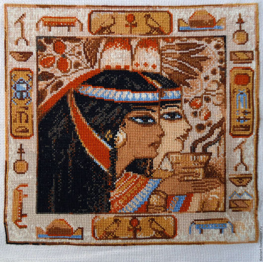 """Этно ручной работы. Ярмарка Мастеров - ручная работа. Купить Вышивка крестиком """"Египет"""". Handmade. Оранжевый, подарок на день рождения"""