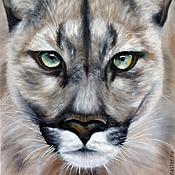 Картины и панно ручной работы. Ярмарка Мастеров - ручная работа Дикая кошка (40 х 50 см). Handmade.
