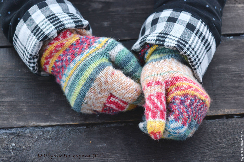 длинные зимние перчатки вязанные