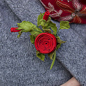 Украшения handmade. Livemaster - original item Mini-brooch made of leather Red rose. the decoration of leather.. Handmade.