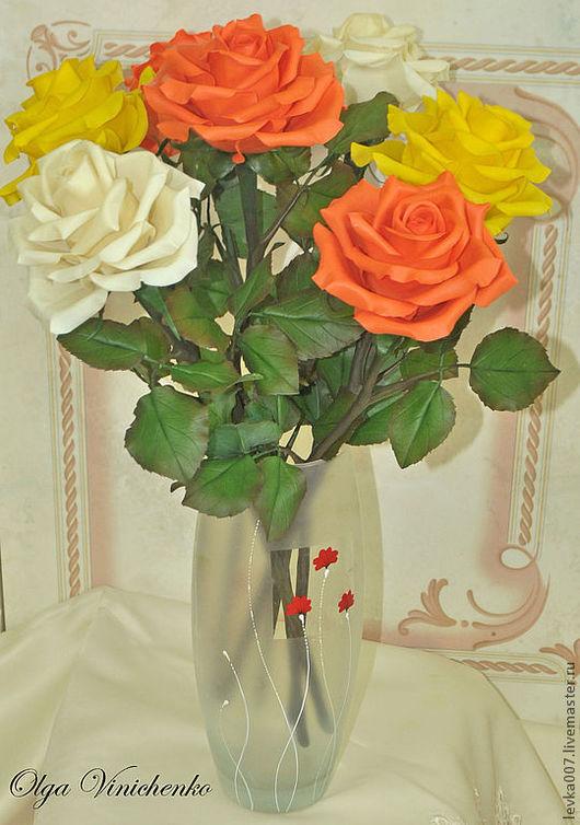 Интерьерные композиции ручной работы. Ярмарка Мастеров - ручная работа. Купить Яркий букет роз. Handmade. Желтые розы, розы