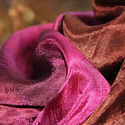Аксессуары ручной работы. Ярмарка Мастеров - ручная работа Шелковый палантин Вишня в шоколаде шелковый шарф. Handmade.