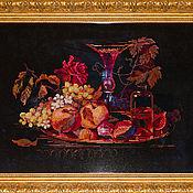 """Картины и панно ручной работы. Ярмарка Мастеров - ручная работа Вышитая картина """"Натюрморт с инжиром"""" в рамке. Handmade."""
