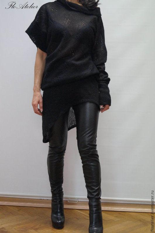 Кофты и свитера ручной работы. Ярмарка Мастеров - ручная работа. Купить Черный Ассимметричный свитер/Свитер с одним рукавом/F1250. Handmade. Черный
