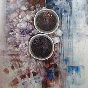 Картины и панно ручной работы. Ярмарка Мастеров - ручная работа Про кофе с черникой и кусочком горького шоколада. Handmade.