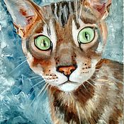 Картины и панно handmade. Livemaster - original item Painting Funny cat oil painting on canvas with a cat. Handmade.