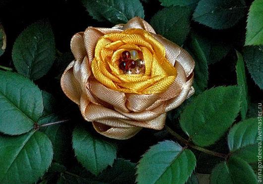 """Броши ручной работы. Ярмарка Мастеров - ручная работа. Купить Брошь """"Чайная роза"""". Handmade. Желтый, атласные ленты"""