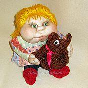 Куклы и игрушки ручной работы. Ярмарка Мастеров - ручная работа Авторская чулочная  кукла Полинка с собачкой. Handmade.