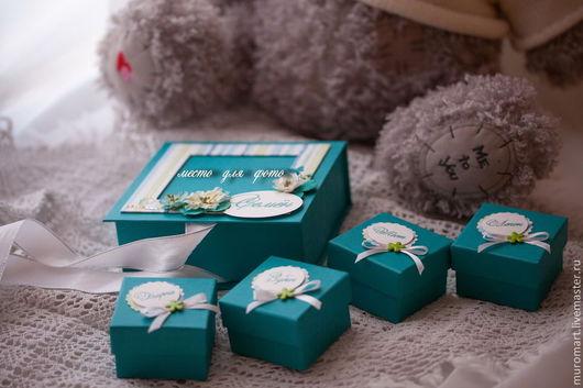 """Подарки для новорожденных, ручной работы. Ярмарка Мастеров - ручная работа. Купить Коробочка """"Мамины сокровища 1"""". Handmade. Тёмно-бирюзовый"""