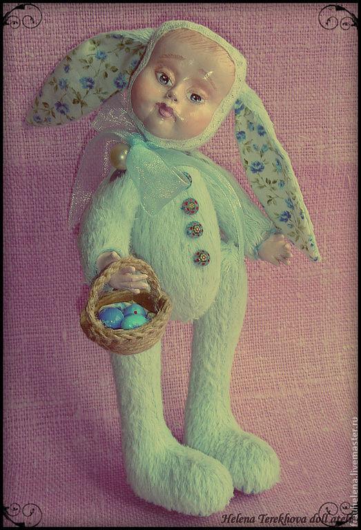 Мишки Тедди ручной работы. Ярмарка Мастеров - ручная работа. Купить Тедди-долл Зайка Подснежник. Handmade. Голубой