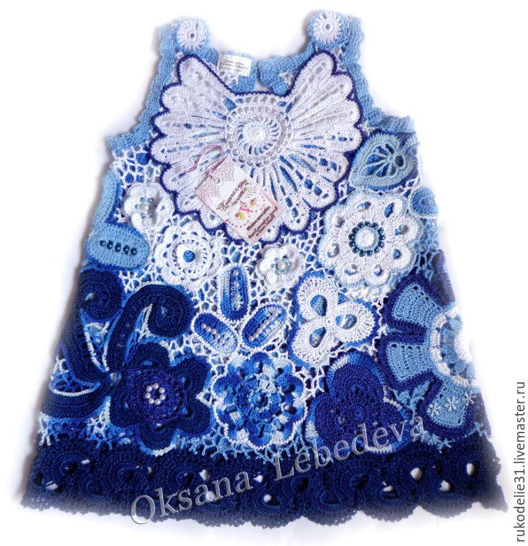 79353a2907f Платье для девочки Гжель ирландское синий белый индиго теарт франция ...