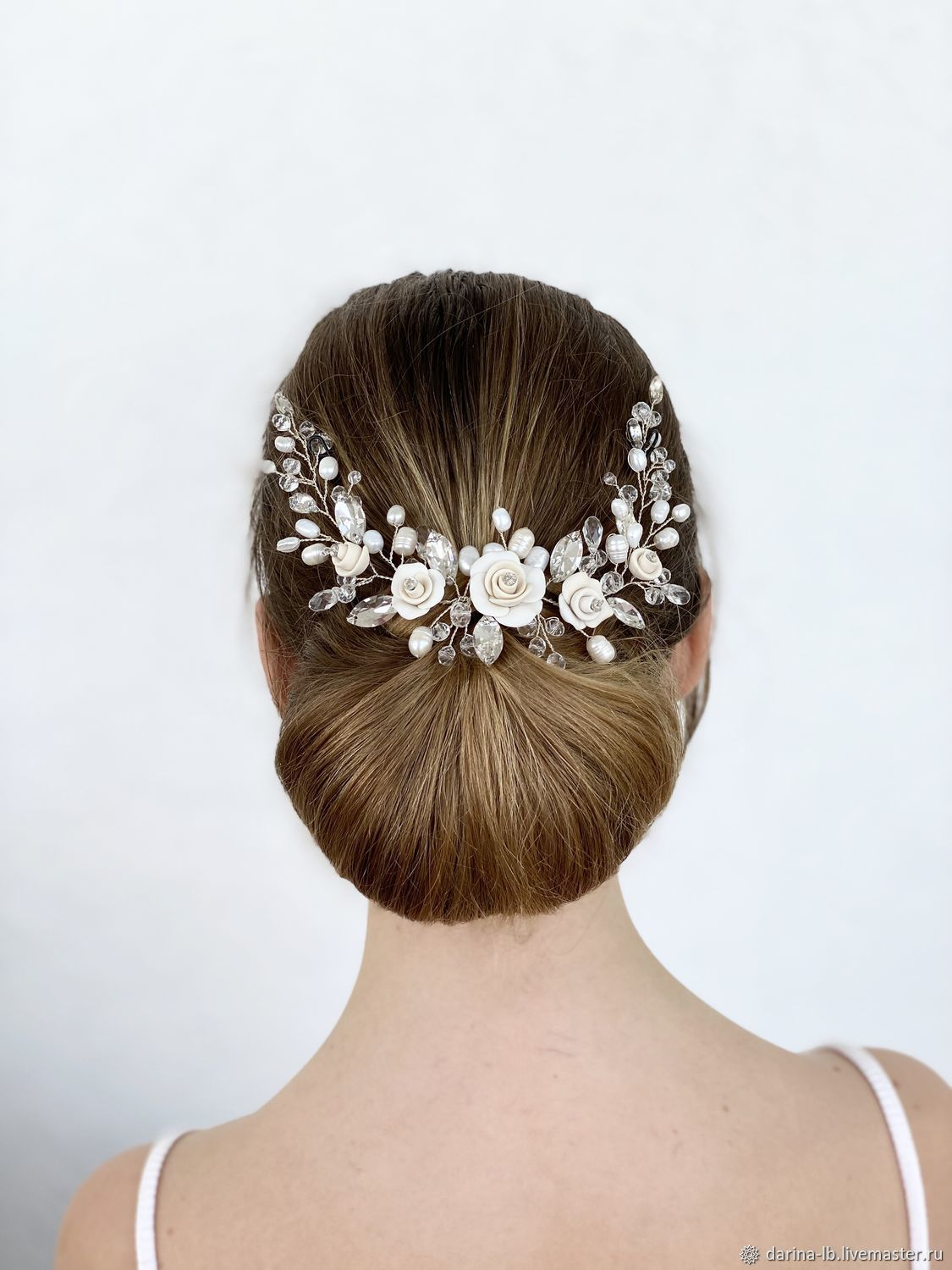 Wedding jewelry for the hair 'Rose ivory ', Hair Decoration, Moscow,  Фото №1