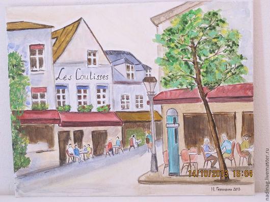 """Город ручной работы. Ярмарка Мастеров - ручная работа. Купить Картина """"Кафе на Монмартре"""". Handmade. Прекрасное городское утро"""