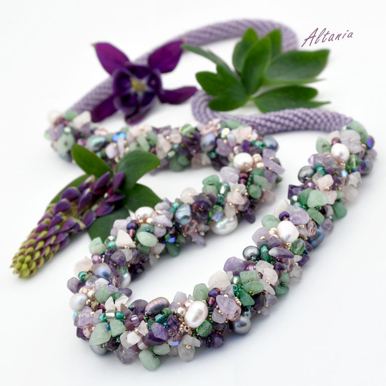 Long necklace for lovers of big forms. Decoration in purple-green range. Massive long necklace from Japanese and Czech beads, stone chips, pearls and Czech beads. Jewelry from Altania