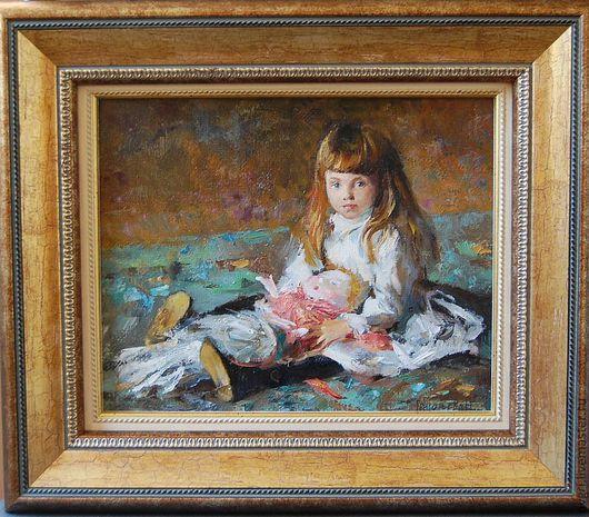 """Люди, ручной работы. Ярмарка Мастеров - ручная работа. Купить Картина """" Девочка с куклой """".. Handmade. Девочка"""