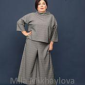 Pants handmade. Livemaster - original item pants: Culottes knit grey Argyle viscose with PE. Art. 670. Handmade.